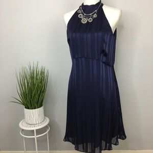 Banana Republic Dress Halter Jewel Neck Navy 12P